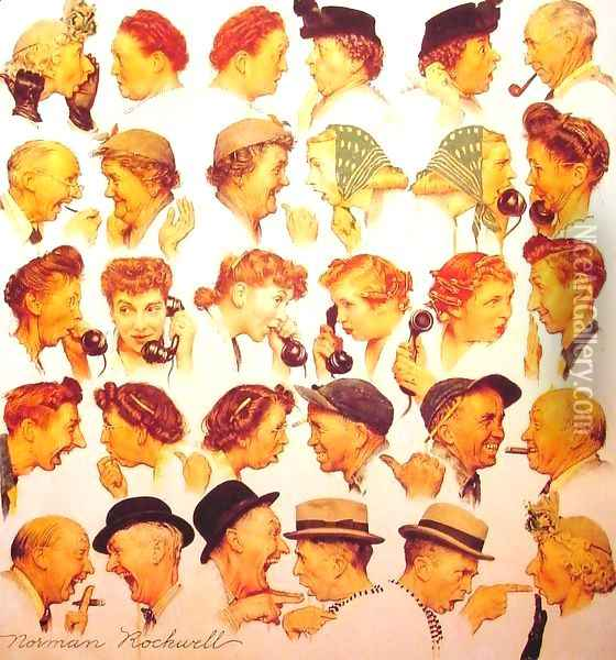 The Gossips Oil Painting - Norman Rockwell