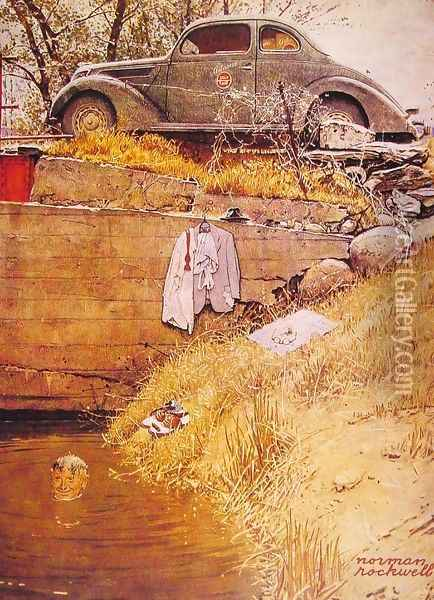 The Swimming Hole Oil Painting - Norman Rockwell