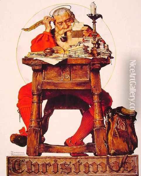 Santa at his Desk Oil Painting - Norman Rockwell