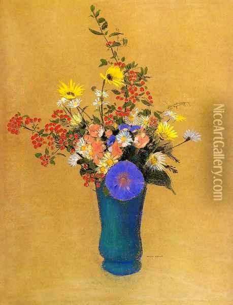 Bouquet Of Wild Flowers Oil Painting - Odilon Redon
