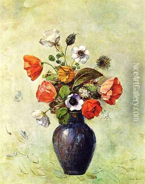 Anemones And Poppies In A Vase Oil Painting - Odilon Redon