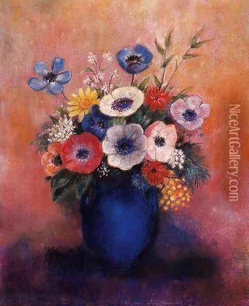 Bouquet Of Flowers In A Blue Vase Oil Painting - Odilon Redon