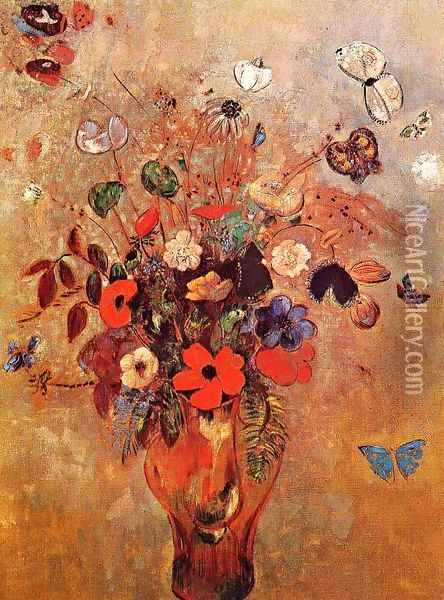 Vase with Flowers and Butterflies Oil Painting - Odilon Redon