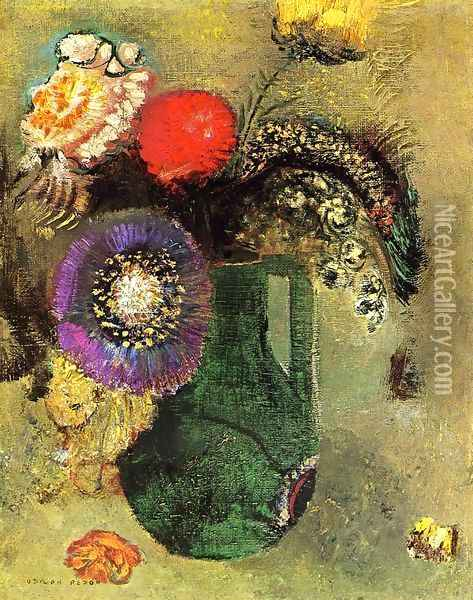 Flowers In Green Vase With Handles Oil Painting - Odilon Redon