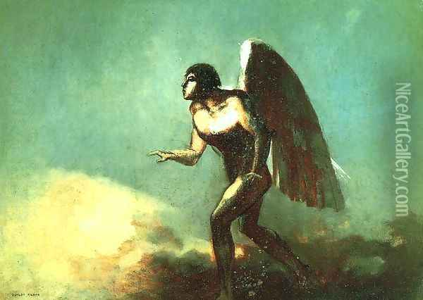 The Winged Man Aka The Fallen Angel Oil Painting - Odilon Redon