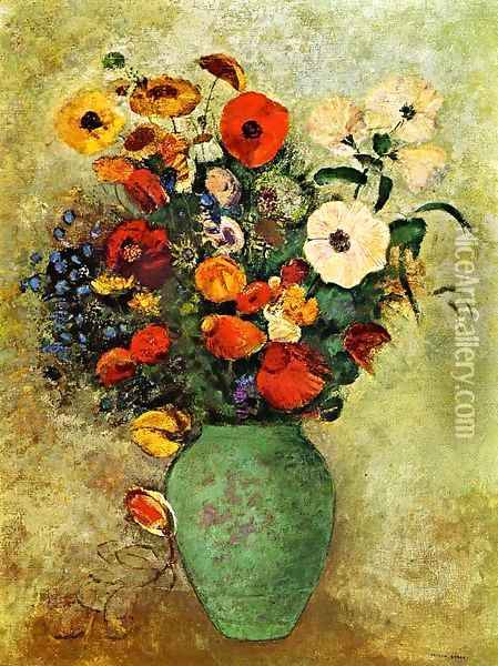 Bouquet Of Flowers In A Green Vase Oil Painting - Odilon Redon