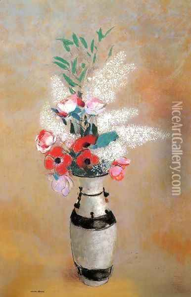 Bouquet With White Lilies In A Japanese Vase Oil Painting - Odilon Redon