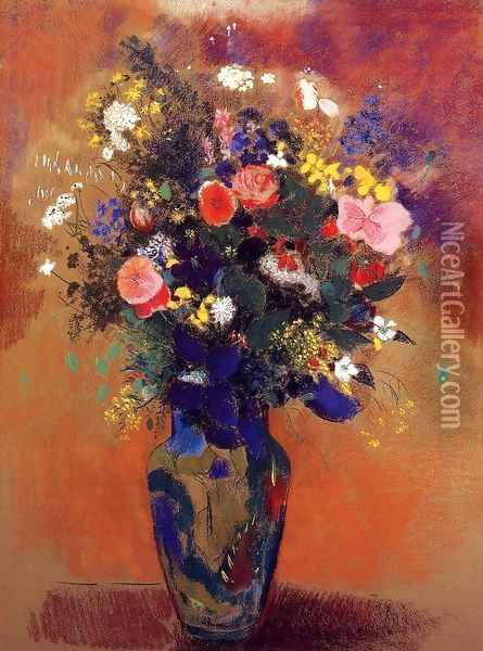 Bouquet In A Persian Vase Oil Painting - Odilon Redon