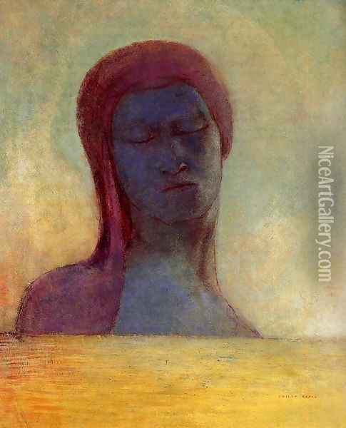 Closed Eyes Oil Painting - Odilon Redon