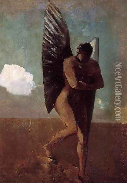 Fallen Angel Looking At At Cloud Oil Painting - Odilon Redon