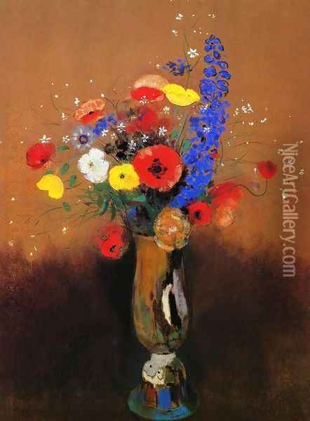 Wild Flowers in a Long-Necked Vase Oil Painting - Odilon Redon