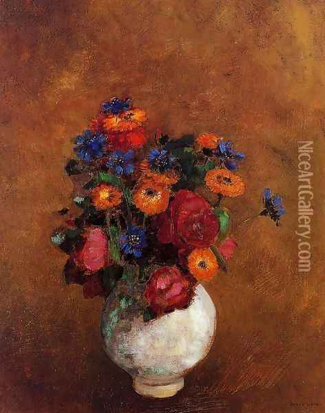 Bouquet Of Flowers In A White Vase Oil Painting - Odilon Redon