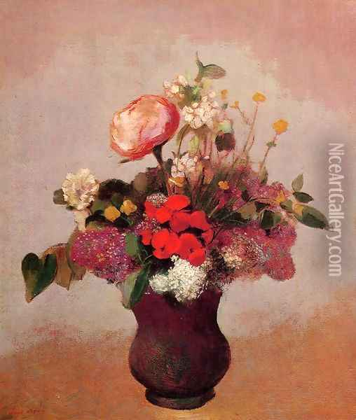 Flowers In Aa Brown Vase Oil Painting - Odilon Redon