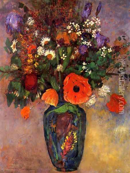 Bouquet Of Flowers In A Vase Oil Painting - Odilon Redon