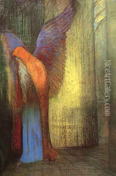 Winged Old Man with a Long White Beard Oil Painting - Odilon Redon
