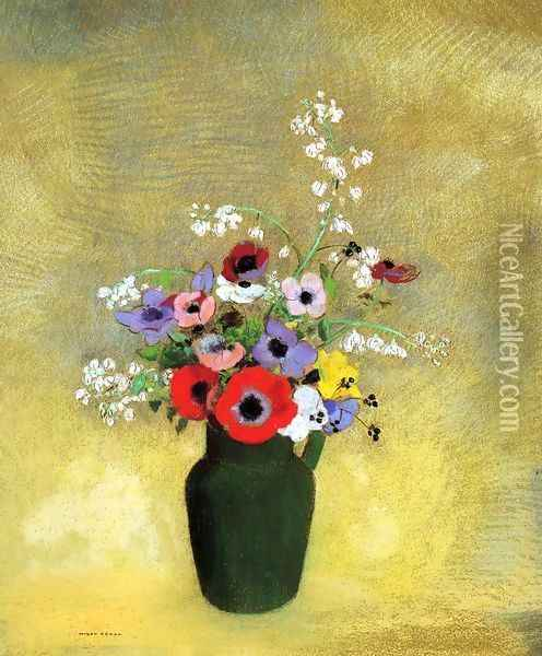 Flowers In A Green Pitcher Oil Painting - Odilon Redon