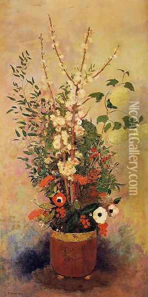 Vase Of Flowers With Branches Of A Flowering Apple Tree Oil Painting - Odilon Redon