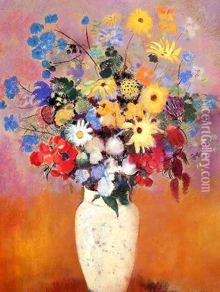 Large Bouquet In A Japanese Vase Oil Painting - Odilon Redon