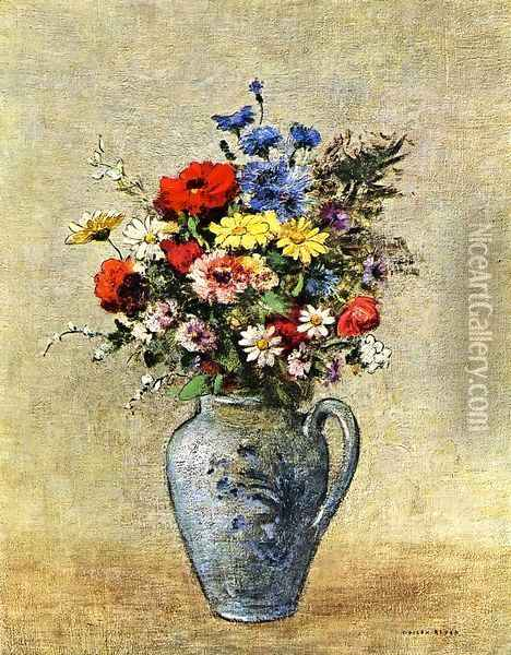 Flowers In A Vase With One Handle Oil Painting - Odilon Redon