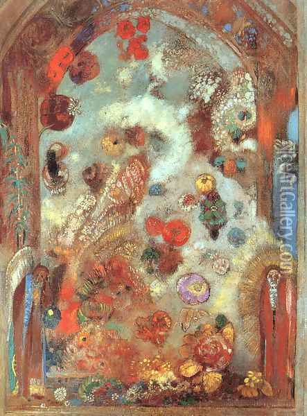 Stained Glass Window (Allegory) 1908 Oil Painting - Odilon Redon