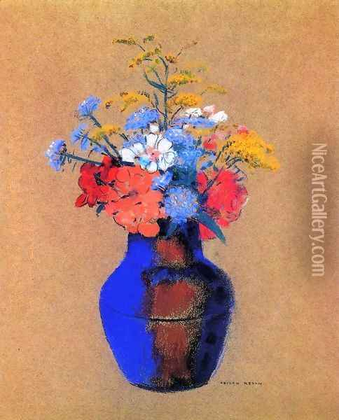 Wild Flowers In A Vase Oil Painting - Odilon Redon