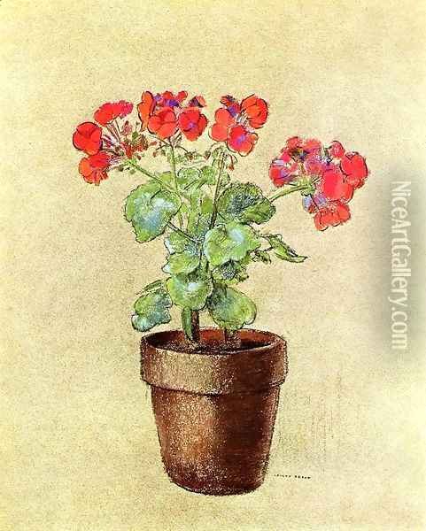 Geraniums Oil Painting - Odilon Redon
