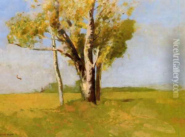 Trees Oil Painting - Odilon Redon