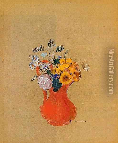 Flowers In A Red Pitcher Oil Painting - Odilon Redon