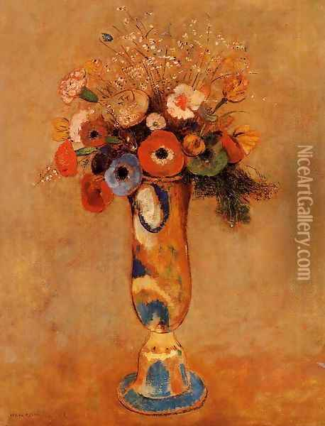 Wildflowers In A Long Necked Vase Oil Painting - Odilon Redon