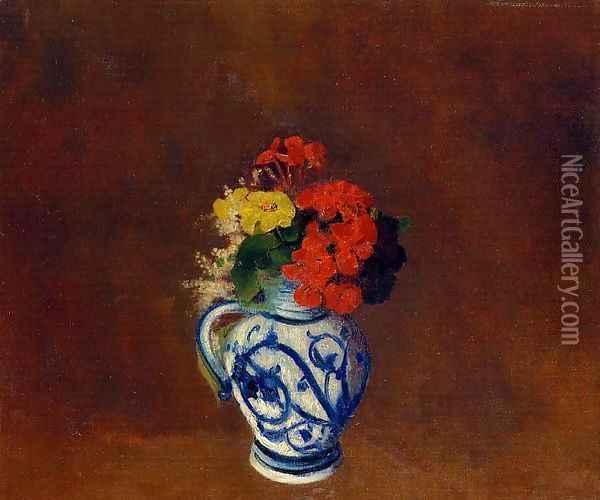 Flowers In A Vase With Blue Decoration Oil Painting - Odilon Redon