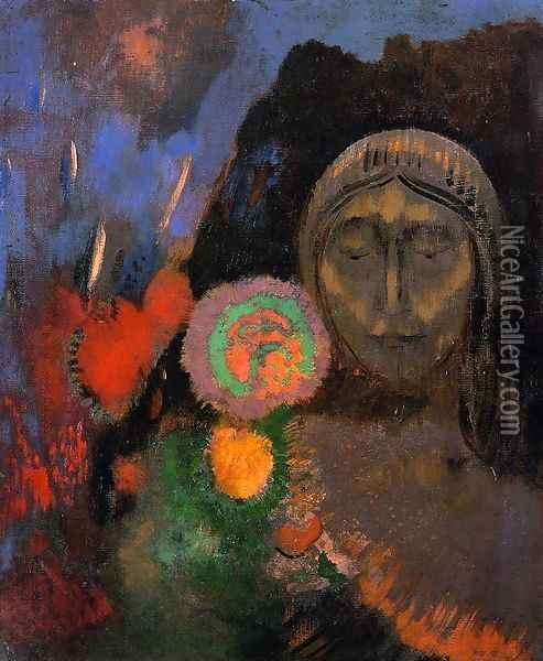 Stained Glass Window Aka The Mysterious Garden Oil Painting - Odilon Redon