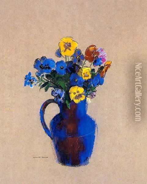 Vase Of Flowers Pansies Oil Painting - Odilon Redon