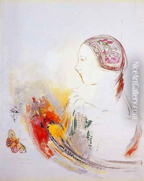 Profile Of A Child Aka Profile Of A Girl With Bird Of Paradise Oil Painting - Odilon Redon
