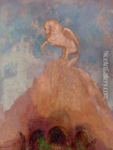 White Pegasus 2 Oil Painting - Odilon Redon