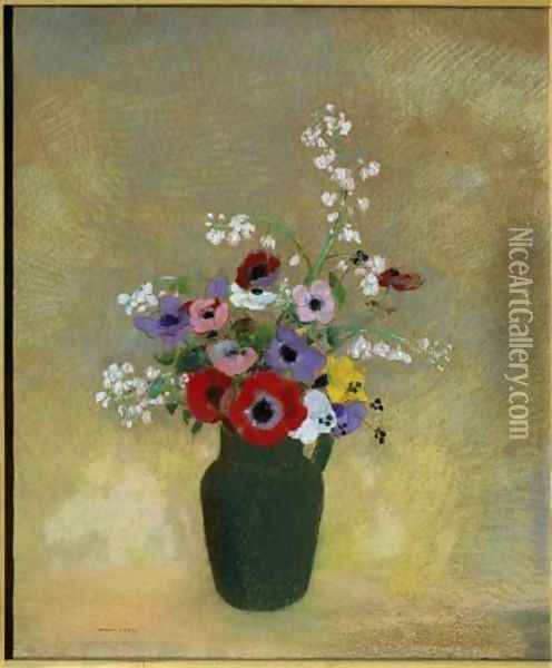 Large Green Vase with Mixed Flowers Oil Painting - Odilon Redon