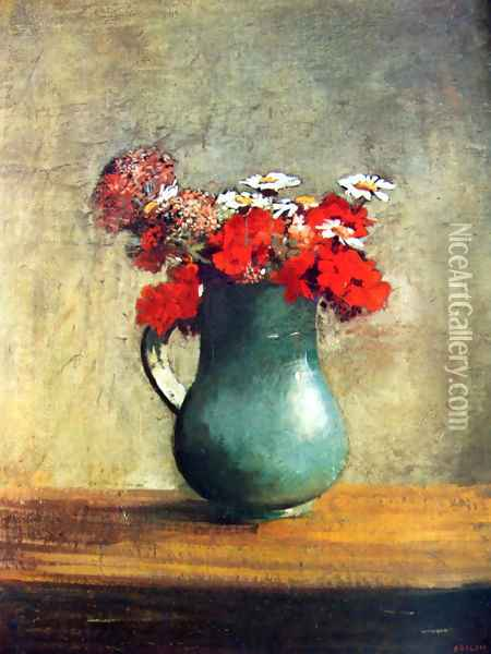 Still life with flowers Oil Painting - Odilon Redon