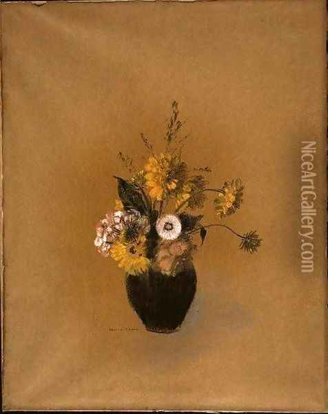 Vase with Flowers Oil Painting - Odilon Redon