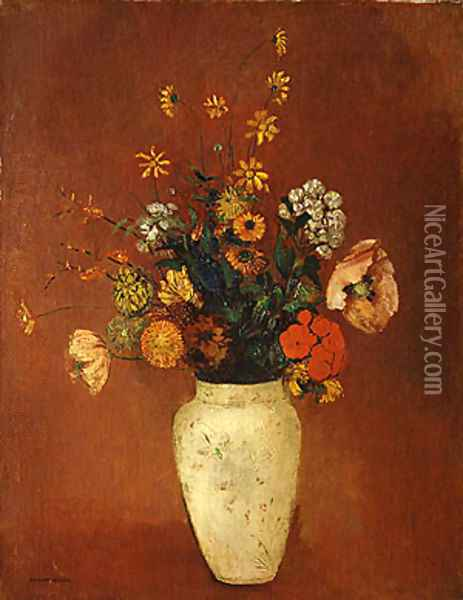 Bouquet in a Chinese Vase Oil Painting - Odilon Redon