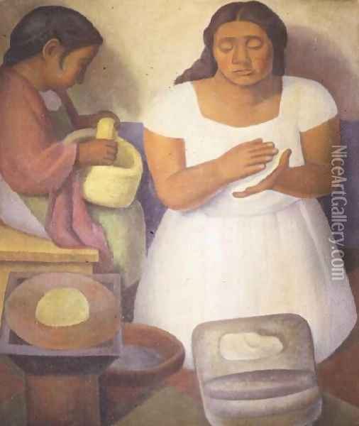 Making Tortillas 1926 Oil Painting - Diego Rivera
