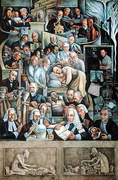 The History of Cardiology 1943-44 Oil Painting - Diego Rivera