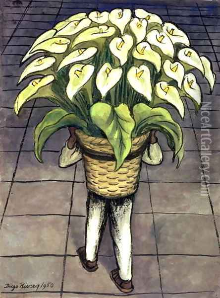 Man Loaded with Lilies 1950 Oil Painting - Diego Rivera