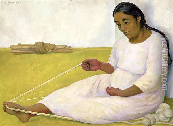 Indian Spinning Oil Painting - Diego Rivera