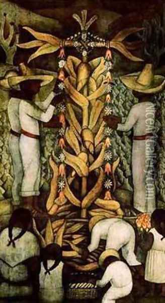 The Corn Festival Oil Painting - Diego Rivera