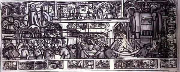 The Assembly of an Automobile, 1932 Oil Painting - Diego Rivera