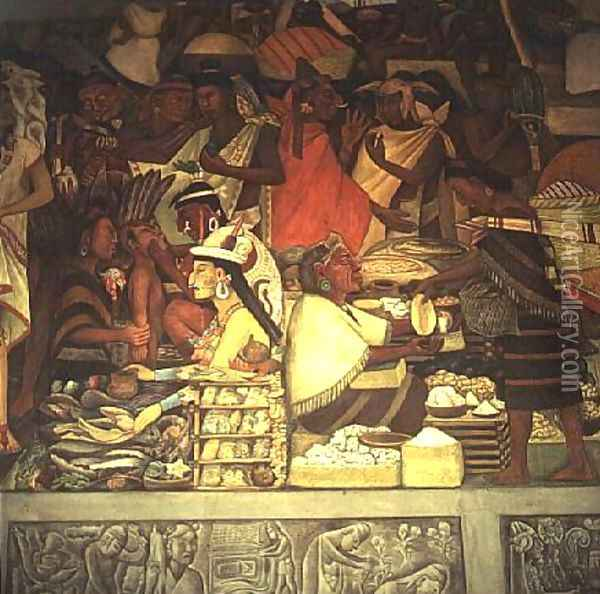 The Market Place Oil Painting - Diego Rivera