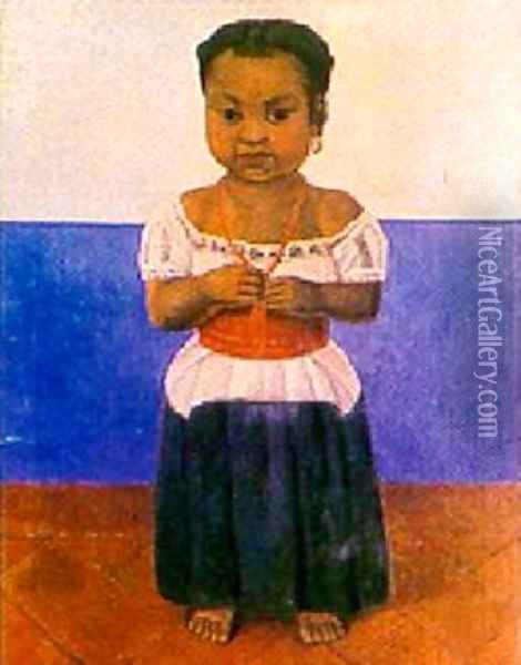 Girl With Coral Necklace Oil Painting - Diego Rivera