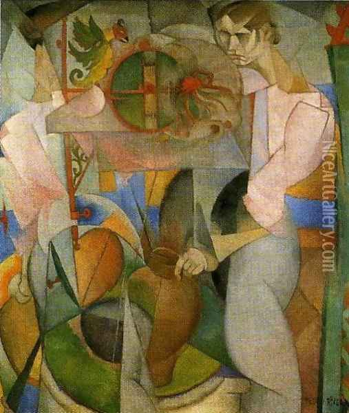 Woman at a Well (reverse of Zapatista Landscape La mujer del pozo) 1913 Oil Painting - Diego Rivera