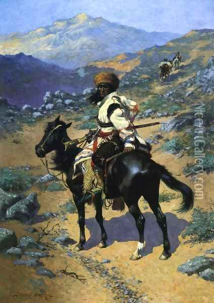 An Indian Trapper Oil Painting - Frederic Remington