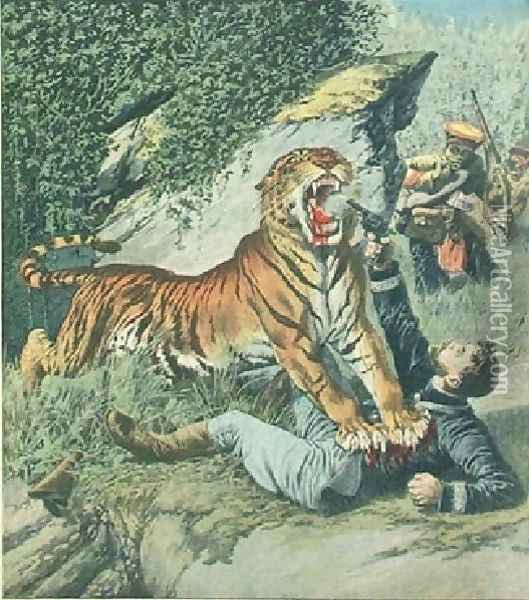 Attacked By A Tiger Jpg Oil Painting - Henri Julien Rousseau