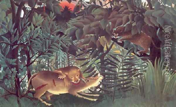 The Hungry Lion Throws Itself On The Antelope 1905 Oil Painting - Henri Julien Rousseau